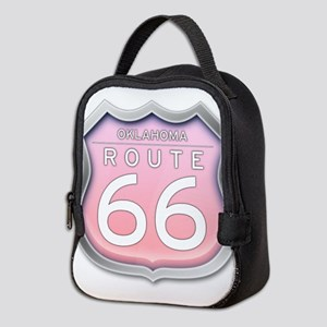 Oklahoma Route 66 - Pink Neoprene Lunch Bag