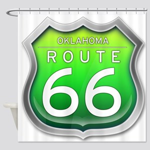 Oklahoma Route 66 - Green Shower Curtain