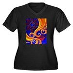 Sensual Women's Plus Size V-Neck Dark T-Shirt