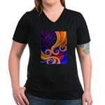 Sensual Women's V-Neck Dark T-Shirt
