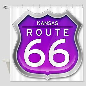 Kansas Route 66 - Purple Shower Curtain
