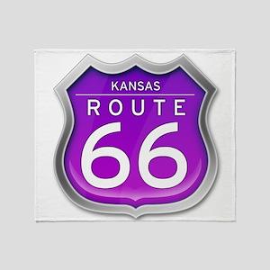 Kansas Route 66 - Purple Throw Blanket