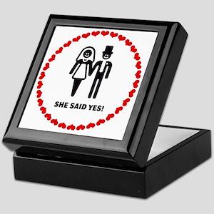 She Said Yes! (Smile / Hearts)  Keepsake Box