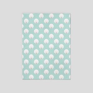 Teal | White Clamshells Seashells 5'x7'Area Rug