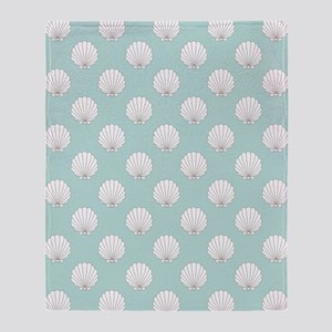 Teal | White Clamshells Seashells Throw Blanket