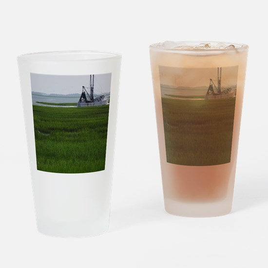 Shrimp boat in South Carolina coast Drinking Glass