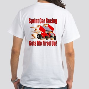 Fired Up Winged Sprint White T-Shirt