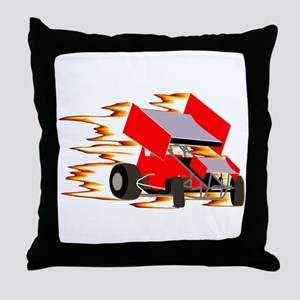 Flaming Winged Sprint Throw Pillow