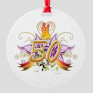 50th Golden Anniversary Round Ornament