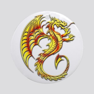 Golden Dragon Symbol Ornament (Round)