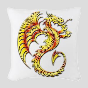 Golden Dragon Symbol Woven Throw Pillow
