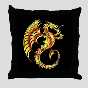 Golden Dragon Symbol Throw Pillow