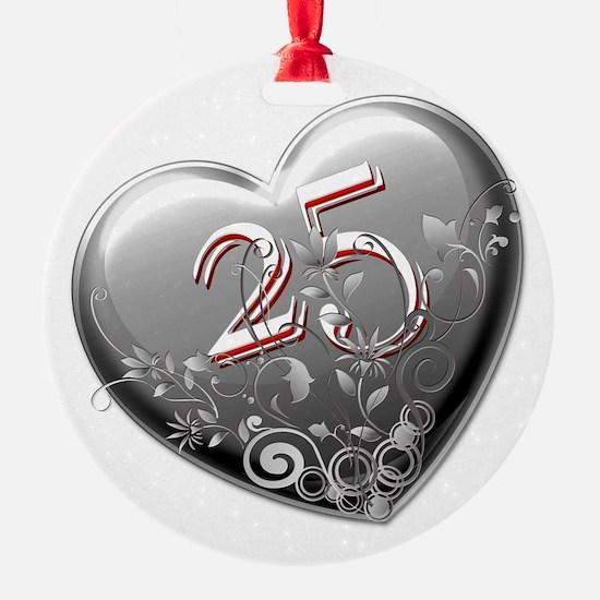 silver anniversary christmas ornament cafepress
