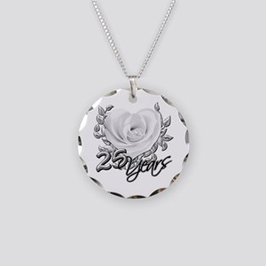 Silver Anniversary Rose Necklace Circle Charm