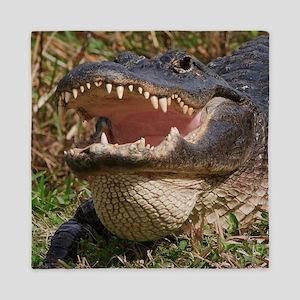 alligator with teeth showing Queen Duvet