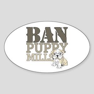 Ban Puppy Mills Sticker (Oval)