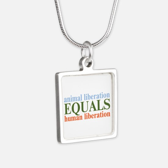Animal Liberation Silver Square Necklace