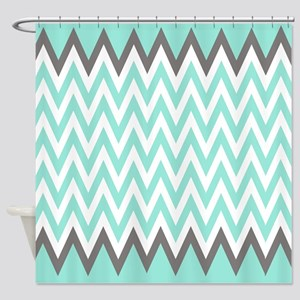 Turquoise and Grey chevrons shower curtain Shower