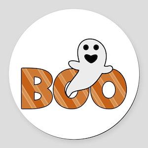BOO Spooky Halloween Casper Round Car Magnet