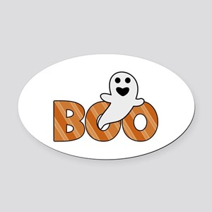 BOO Spooky Halloween Casper Oval Car Magnet
