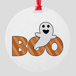 BOO Spooky Halloween Casper Round Ornament