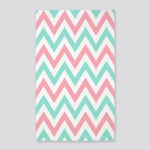 Turquoise,white and pink chevrons 3 by 5 rug 3'x5'