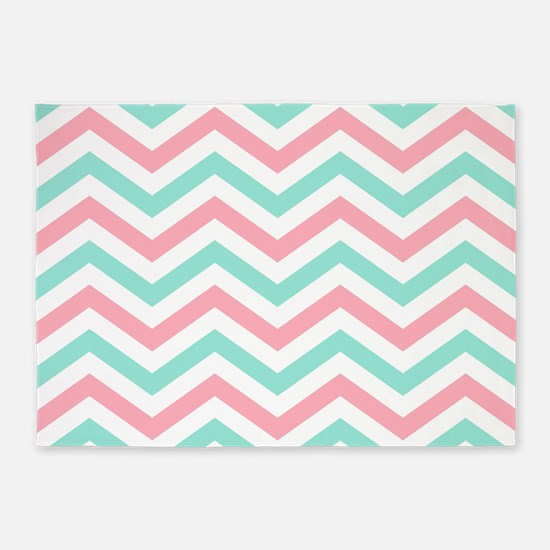 Turquoise and pink chevrons 5 by7 rug 5'x7'Area Ru
