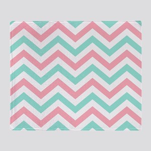 Turquoise,white and pink chevrons king duvet Throw