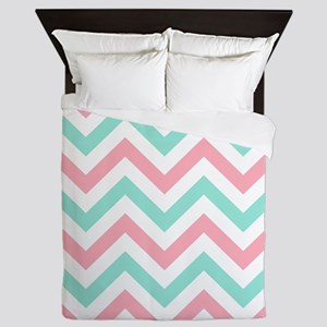 Turquoise,white and pink chevrons Queen duvet Quee