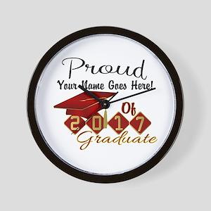 Proud 2017 Graduate Red Wall Clock