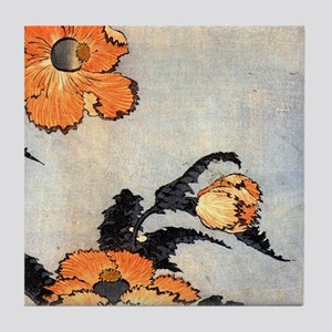Poppies by Hokusai Tile Coaster