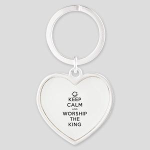 Keep Calm & Worship The King Heart Keychain