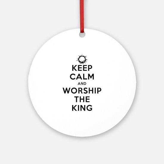 Keep Calm & Worship The King Ornament (Round)