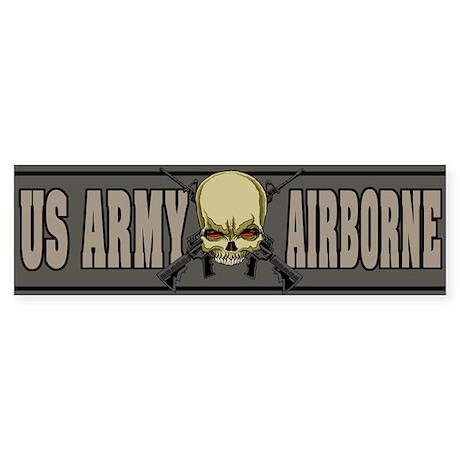 Airborne Skull Bumper Sticker