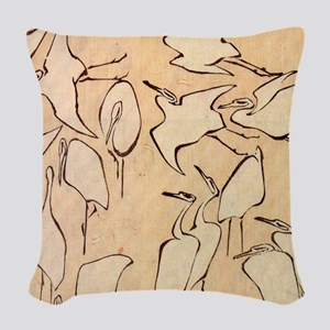 Hokusai Cranes Woven Throw Pillow