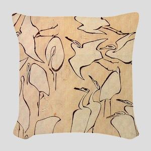 Hokusai Cranes Woven Throw Pillow