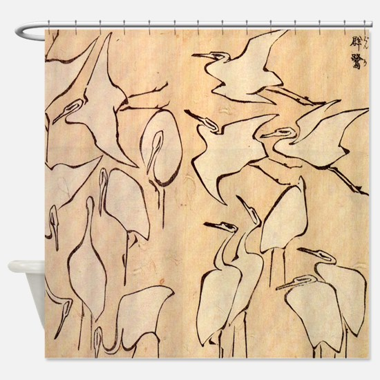 Hokusai Cranes Shower Curtain