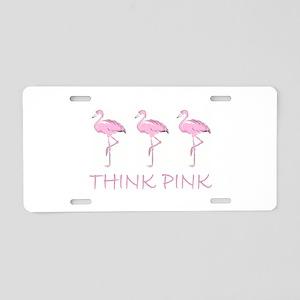 Breast cancer flamingo Aluminum License Plate