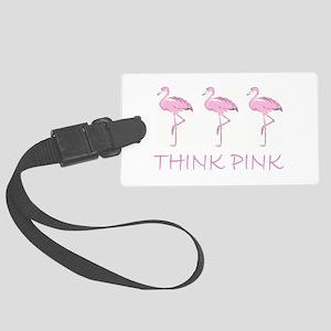 Breast cancer flamingo Luggage Tag
