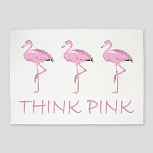 Breast cancer flamingo 5'x7'Area Rug