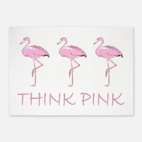 Breast cancer flamingo 5'x7'Area Rug