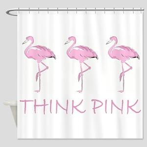 Breast cancer flamingo Shower Curtain
