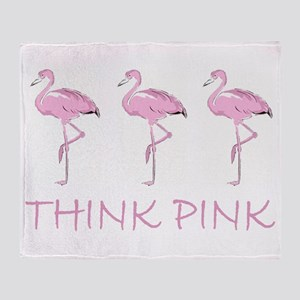 Breast cancer flamingo Throw Blanket