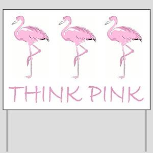 Breast cancer flamingo Yard Sign