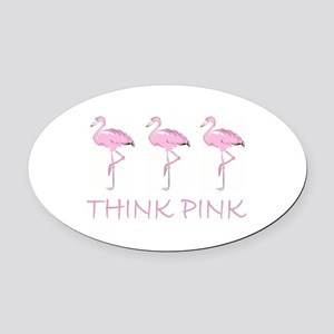 Breast cancer flamingo Oval Car Magnet