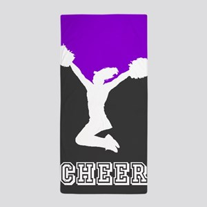 Cheer purple and black Beach Towel