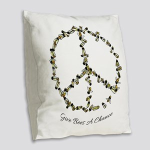 Give Bees A Chance Burlap Throw Pillow