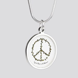 Give Bees A Chance Silver Round Necklace