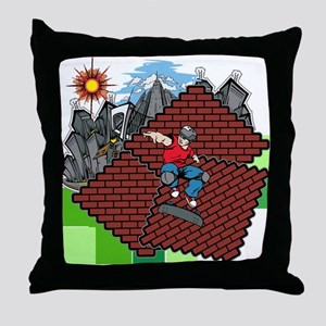 blockcraft city skater Throw Pillow