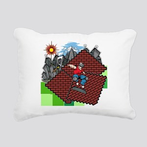 blockcraft city skater Rectangular Canvas Pillow